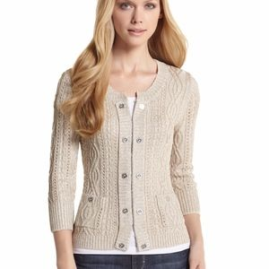 WHBM | Gold Metallic Cable Knit Cardigan XS